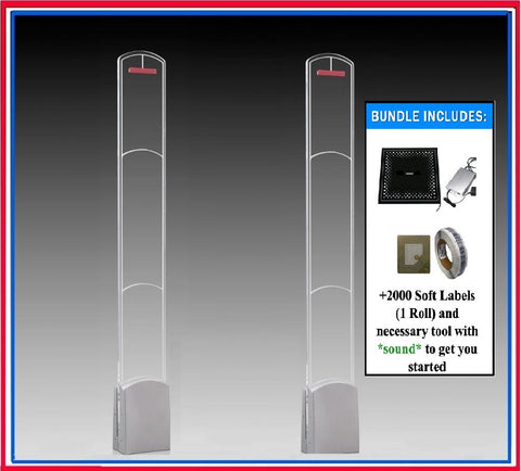 "Package A "" Plus ""- 2000 RF 8.2 MHz Soft Labels + High Fashion Acrylic RF Frequency Anti Theft Antenna System + Deactivator"