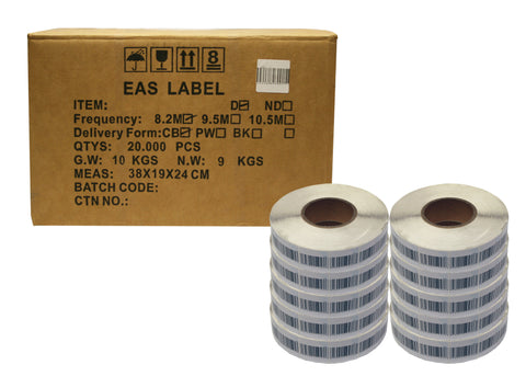 Security 40mm x 40mm Barcode Style Soft Labels RF Frequency - Case of 20,000 labels