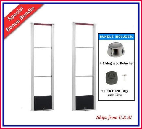 Package K - 1000 SQ Tags with Wide Body RF Anti Theft Security Antenna and Detacher