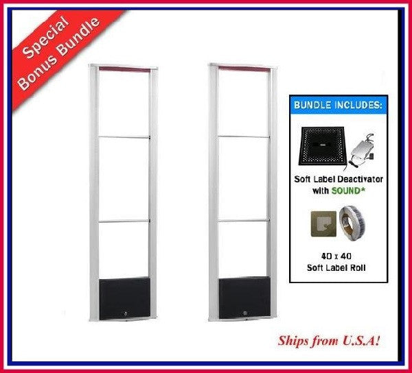 Package L - 2000 Soft Label with Wide Body RF Anti Theft Security Antenna and Detacher