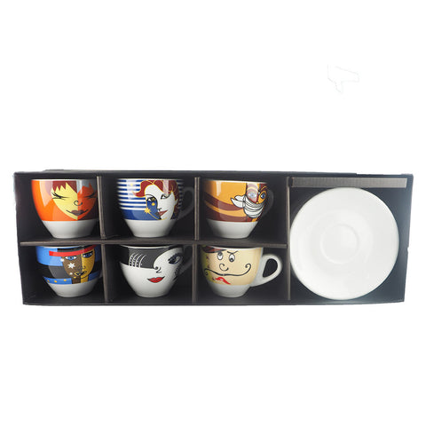 CAPPUCCINO 180ML FACE CUP SET (SET OF 6)