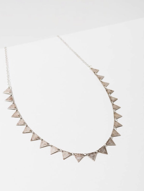 Silver Candra Necklace - Triangles - Brevado