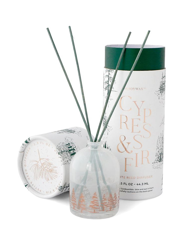 White Petite Reed Diffuser - Cypress & Fir