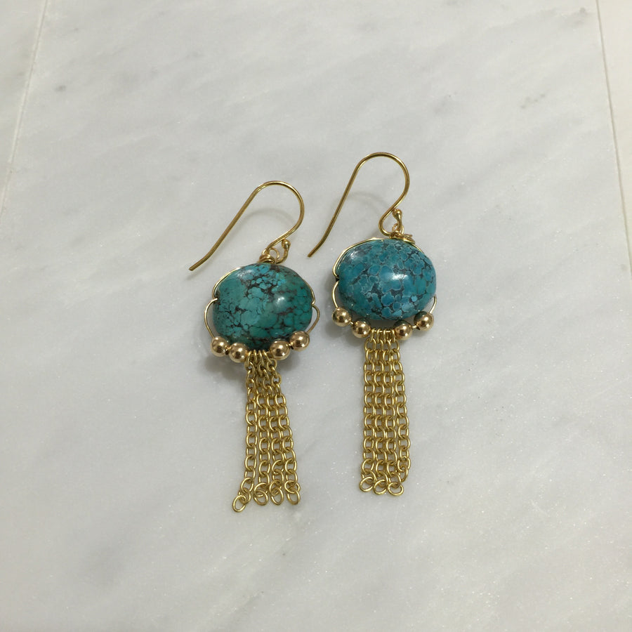 Turquoise Tassel Earrings - Brevado