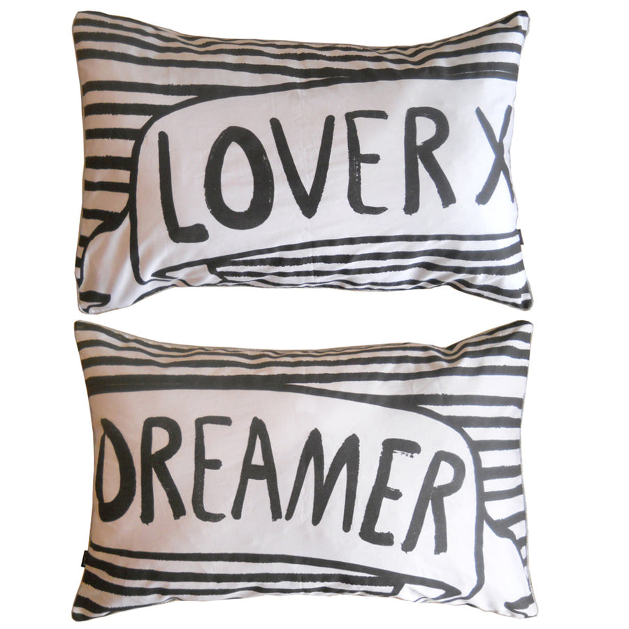 LOVER DREAMER PILLOW SLIPS - BLACK/WHITE SET OF 2