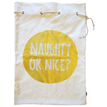 NAUGHTY OR NICE SANTA SACK – GOLD