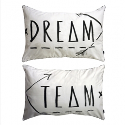DREAM TEAM PILLOW SLIPS / SET OF TWO - BLACK