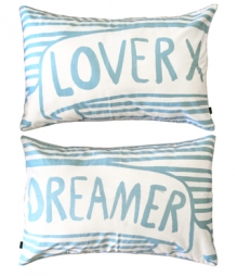 LOVER DREAMER PILLOW SLIPS - CHALK/SILVER, SET OF 2