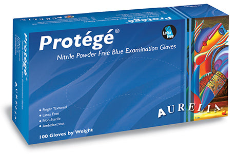 "X-Small Aurelia PROTÉGÉ Nitrile Latex Glove, Powder Free, 9.4"" Length, 5 mils Thick (Pack of 100)"