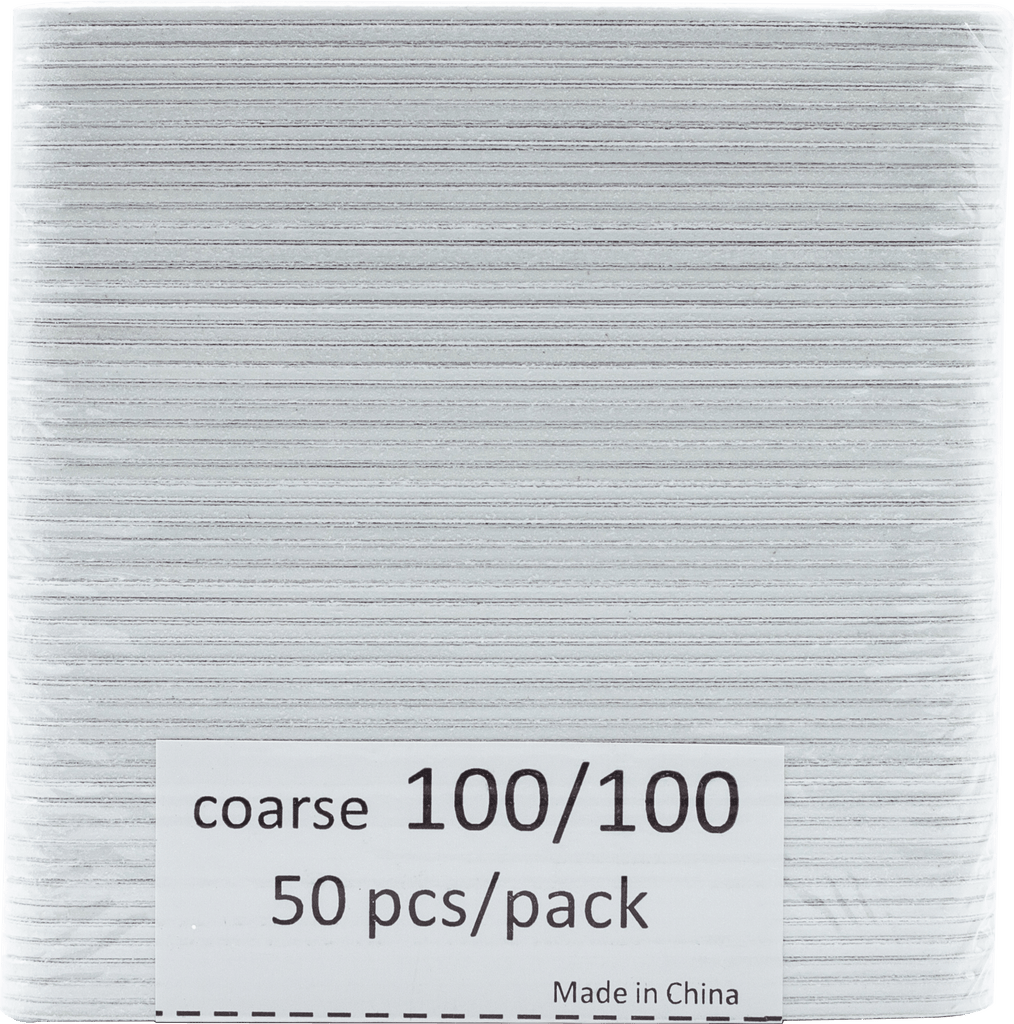 Small White Nail Files Coarse (100/100) 50pcs - Gina Beauté