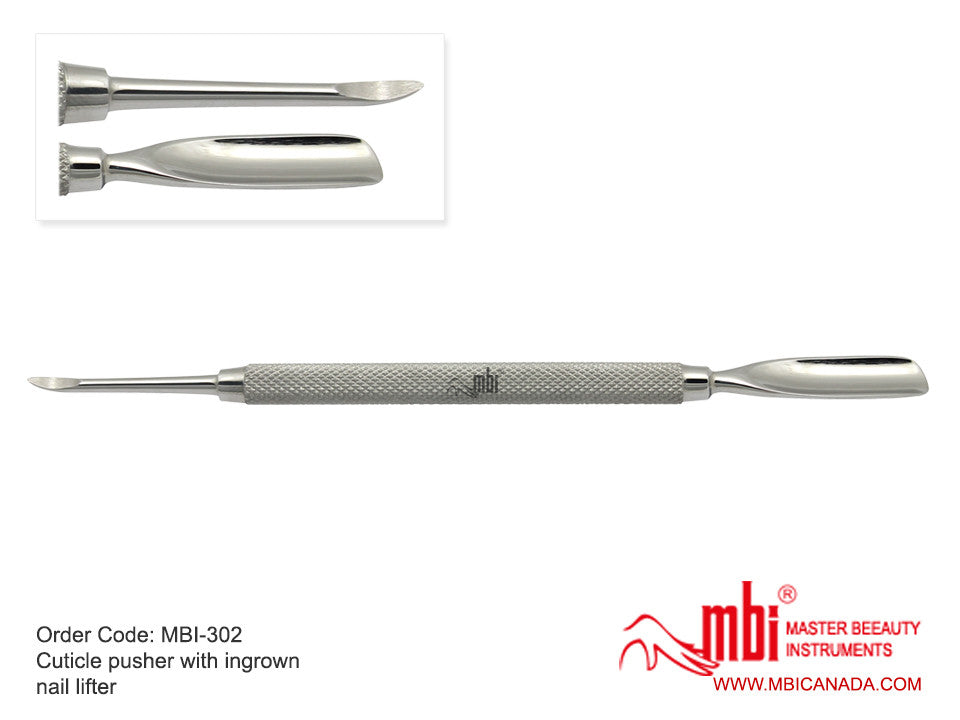 MBI-302 Cuticle Pusher With Ingrown Nail Lifter - Gina Beauté