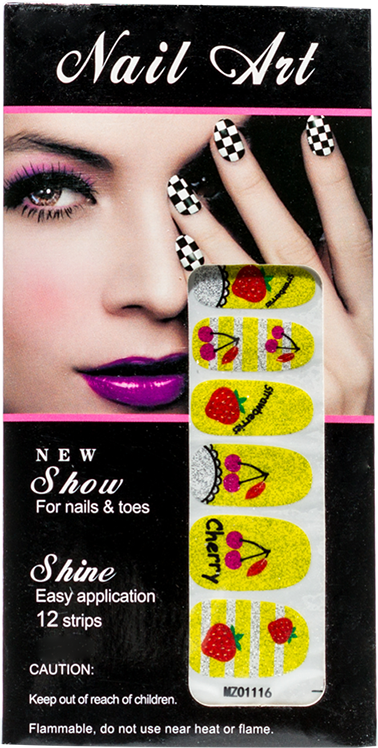Nail Art Yellow with red Cherry & Strawberry - Gina Beauté