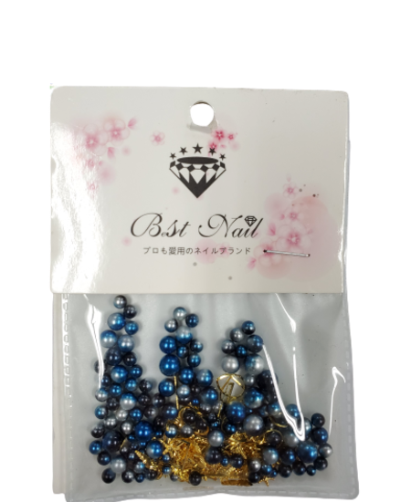 Mixed Diamond/Pearl Nail Decorations (Blue/Silver)