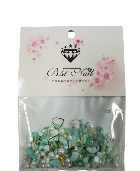 Mixed Diamond/Pearl Nail Decorations (Jade)