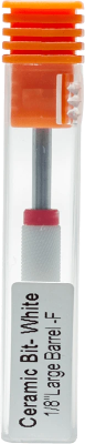 "Ceramic Bit- White 1/8"" Large Barrel F for Nail salon electric drill - Gina Beauté"