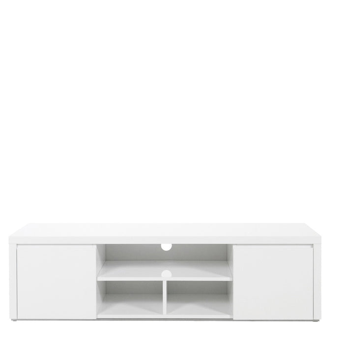 Bella TV / entertainment unit in modern white high gloss with media storage