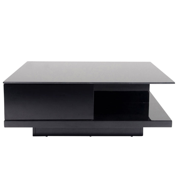 Cam coffee table - high gloss black with storage drawers and shelf