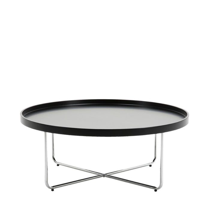 Circa coffee table - contemporary round black top with chrome legs