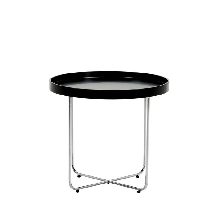 Circa Side Table - contemporary round black top with chrome legs