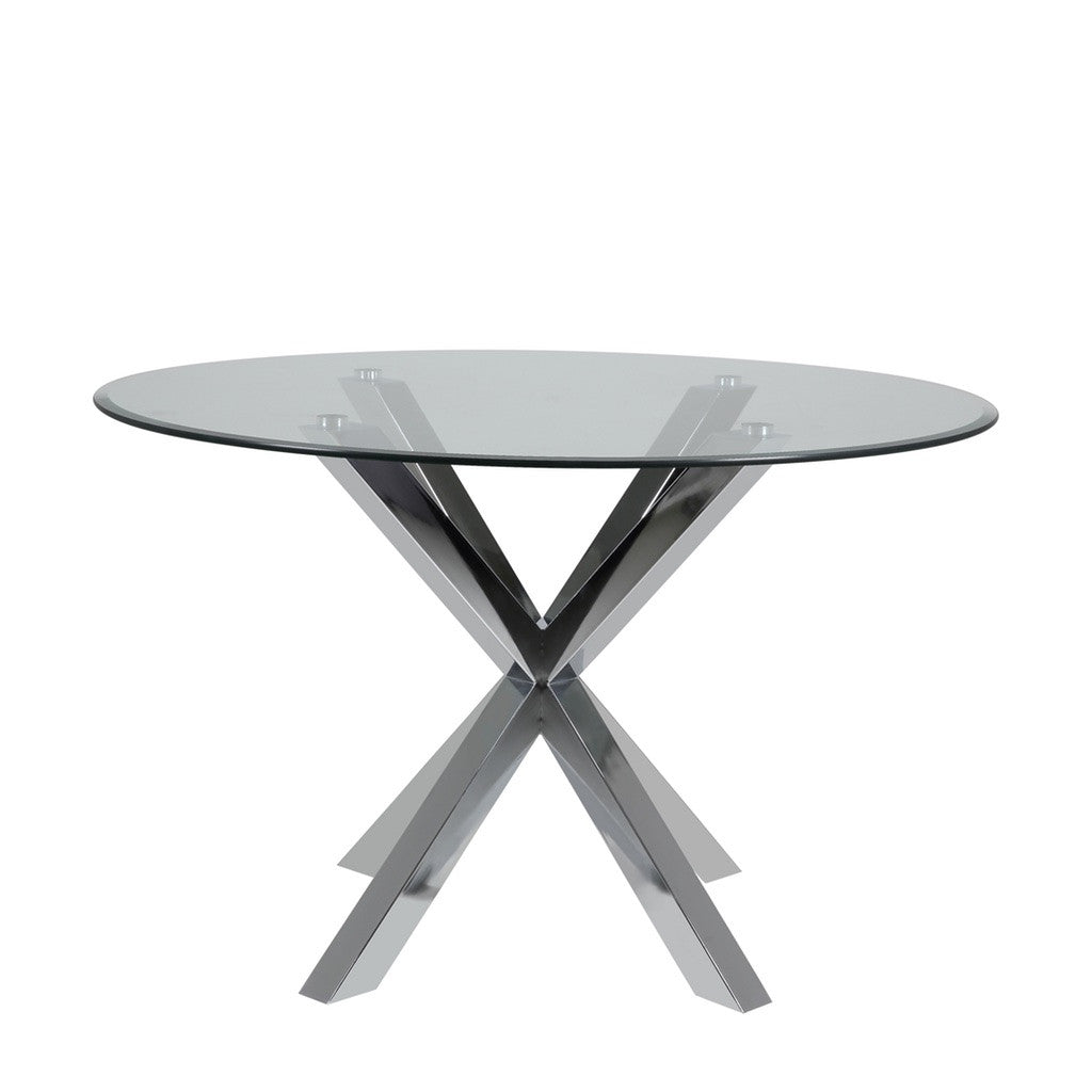 harry dining table  modern round glass top on chrome legs  - harry dining table