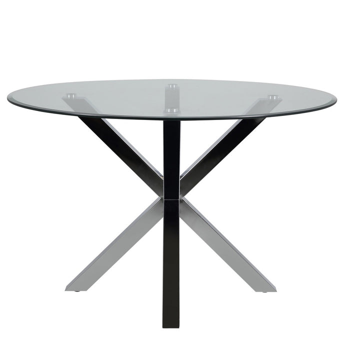 Harry dining table - modern round glass top on chrome legs