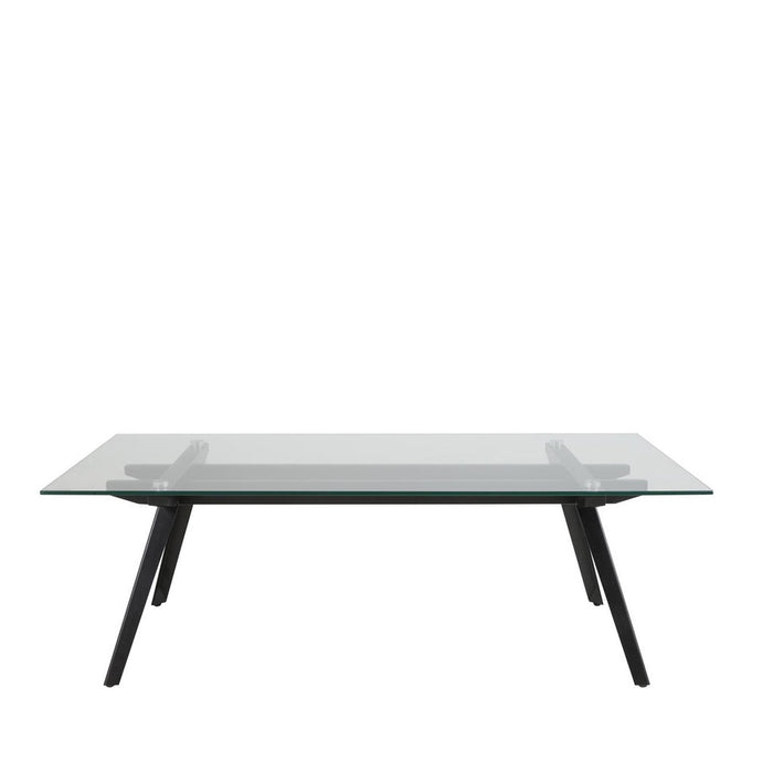 Macy coffee table - rectangular clear glass top with black metal legs