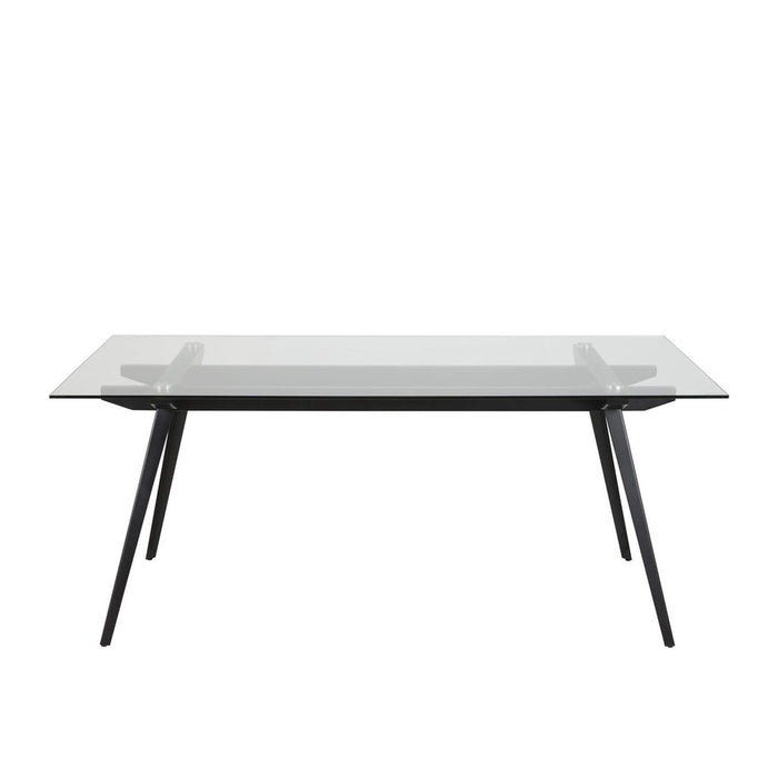 Macy dining table - rectangular clear glass top with black metal legs