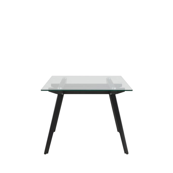 Macy side / end / lamp table - clear glass top with black metal legs