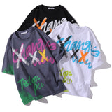 Aolamegs T Shirt Men Hit Color Graffiti Letter Print Men's Tee Shirts Cotton Casual Tops Hip Hop Style Couple Streetwear Summer
