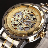 Watches Men Skeleton Mechanical Golden  Watch