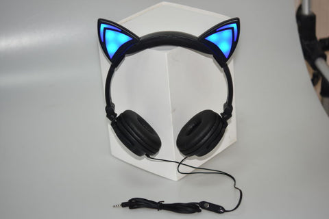 Foldable Flashing Glowing cat ear headphone
