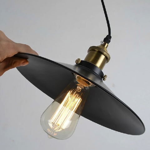 E27 Bulb+ Industrial Whirlwind Black Umbrella Pendant