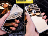 Fashion Luxury Ultra Slim Soft Case For Iphone 5S Clear Silicone Edge + Shinny Mirror Back Cover For Iphone 5 5S