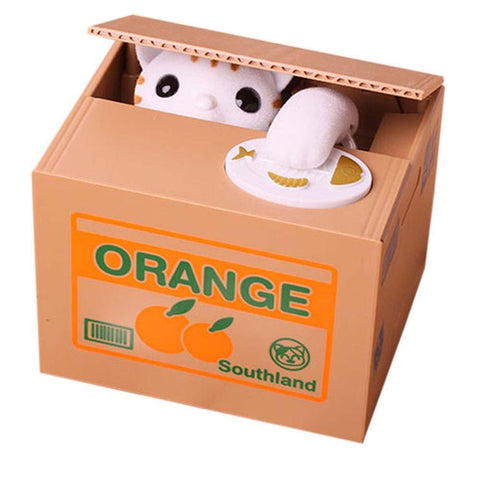 White Cat Automated Steal Coin Money Box