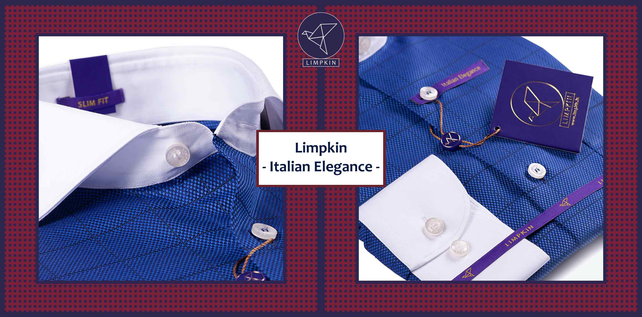 Logrono- Royal Blue Check With Collar - 2/120 Egyptian Giza Cotton- Delivery from 14th Feb - Banner