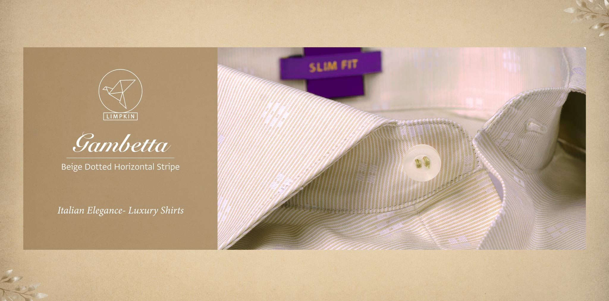 Gambetta- Beige Dotted Horizontal Stripe- 2 Ply Pure Egyptian Giza Cotton- Delivery from 26th Sept - Banner