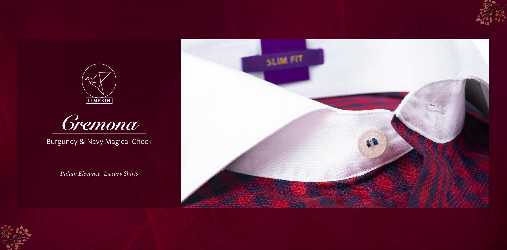 Cremona- Burgundy & Navy Check with White Collar- 2 Ply Pure Egyptian Giza Cotton- Delivery from 10th March - Banner