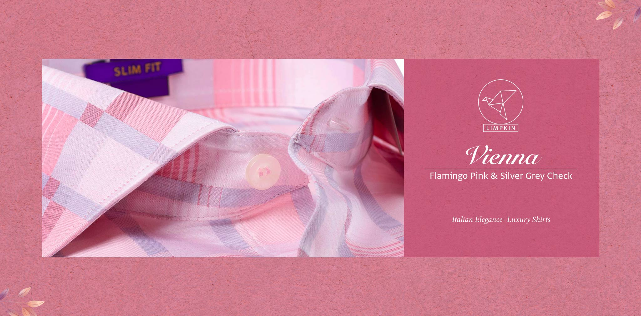 Vienna- Flamingo Pink & Silver Grey Check- 2 Ply Pure Egyptian Giza Cotton- Delivery from 26th Sept - Banner