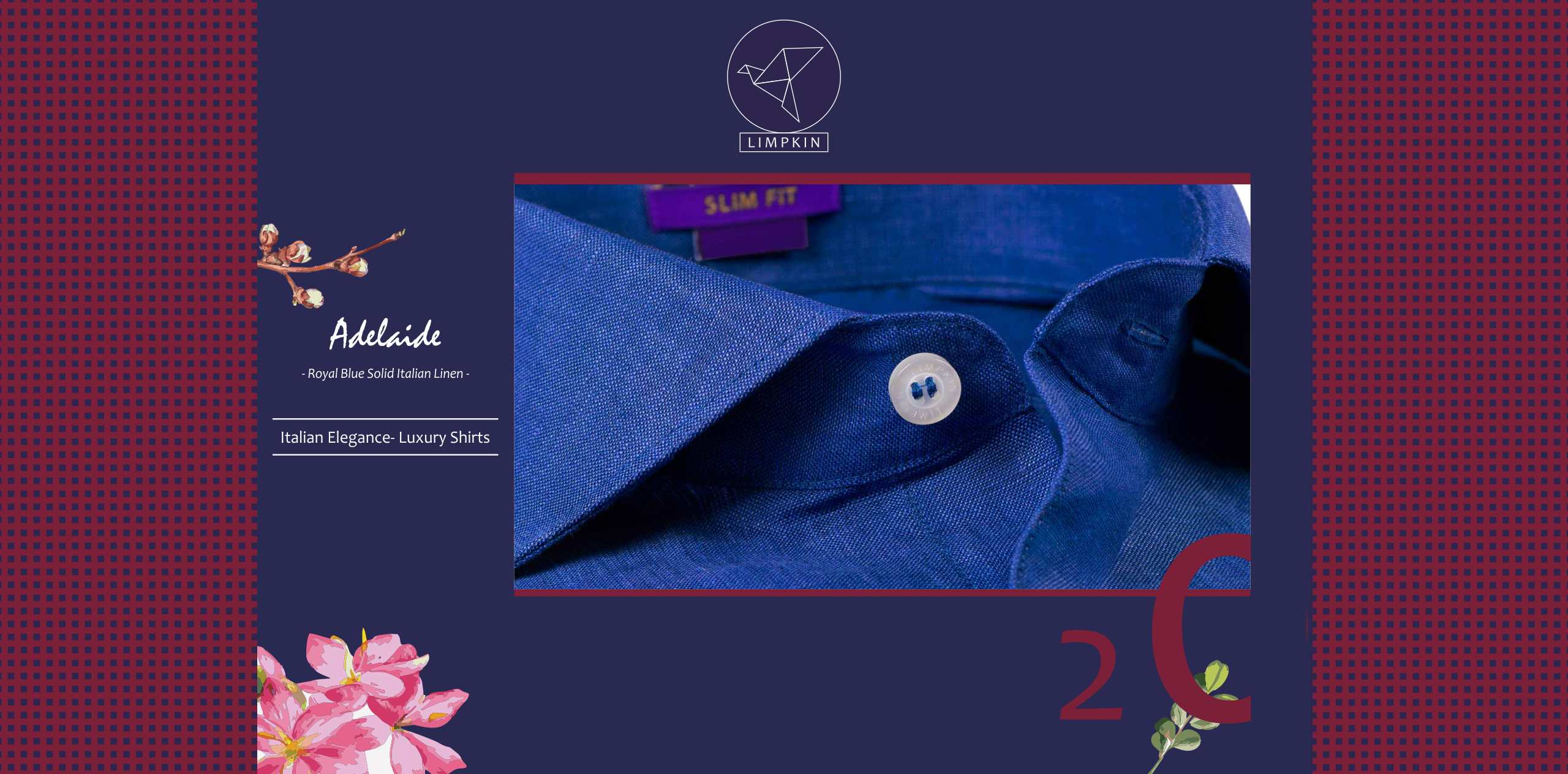 Adelaide- Royal Blue Solid Linen- 66's Lea Pure Italian Linen- Delivery from 20th Oct - Banner