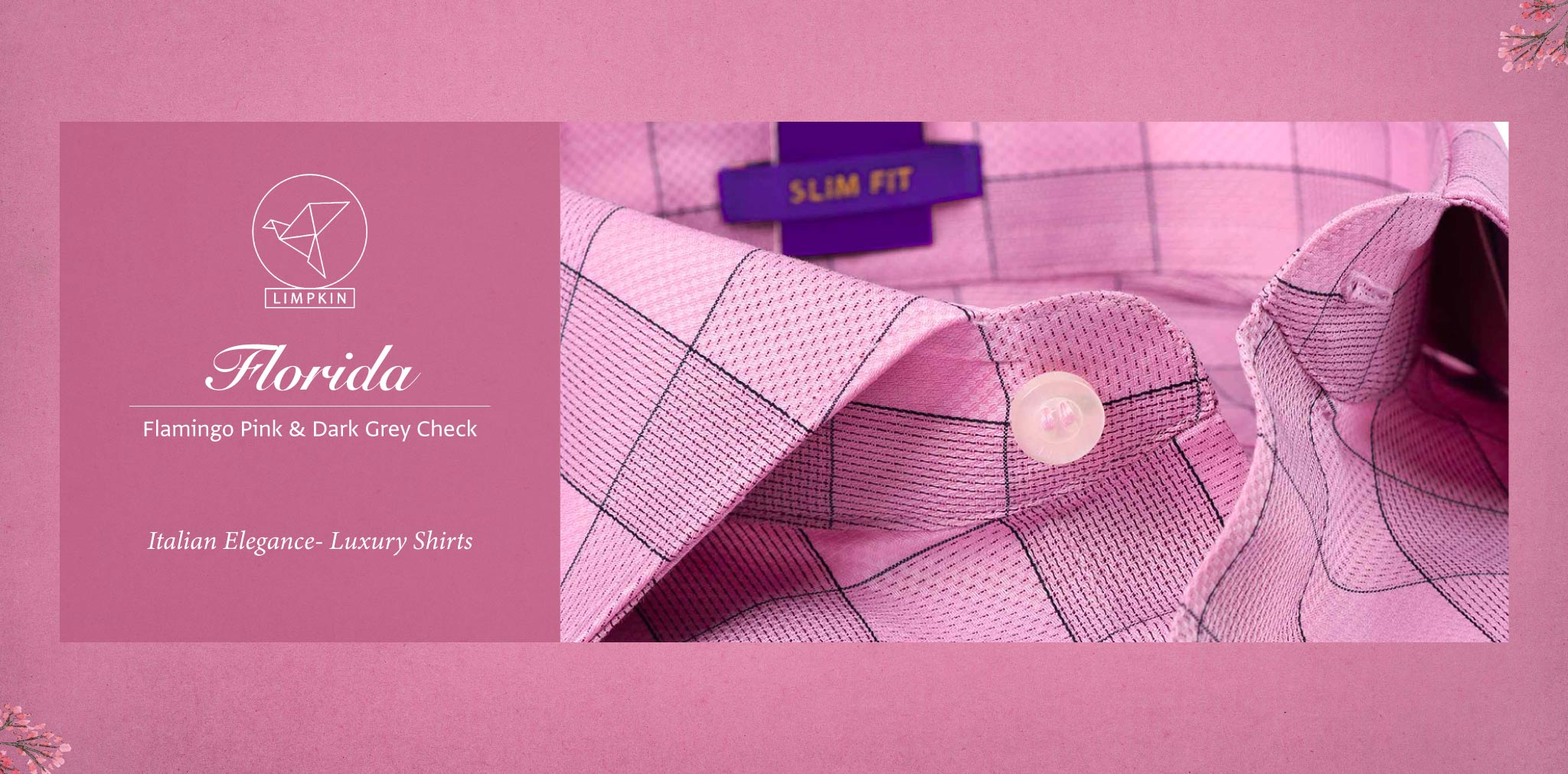 Florida- Flamingo Pink & Grey Check- 2 Ply Pure Egyptian Giza Cotton- Delivery from 26th Sept - Banner