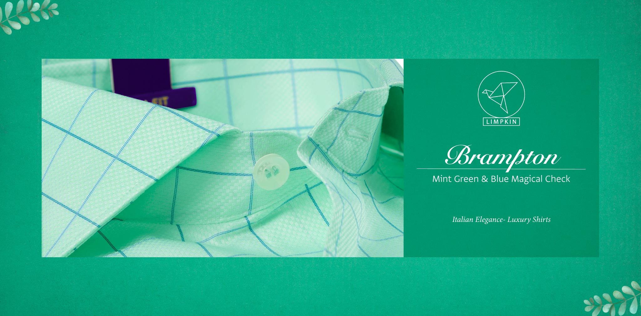 Brampton- Mint Green & Blue Magical Check- 2 Ply Pure Egyptian Giza Cotton- Delivery from 26th Sept - Banner