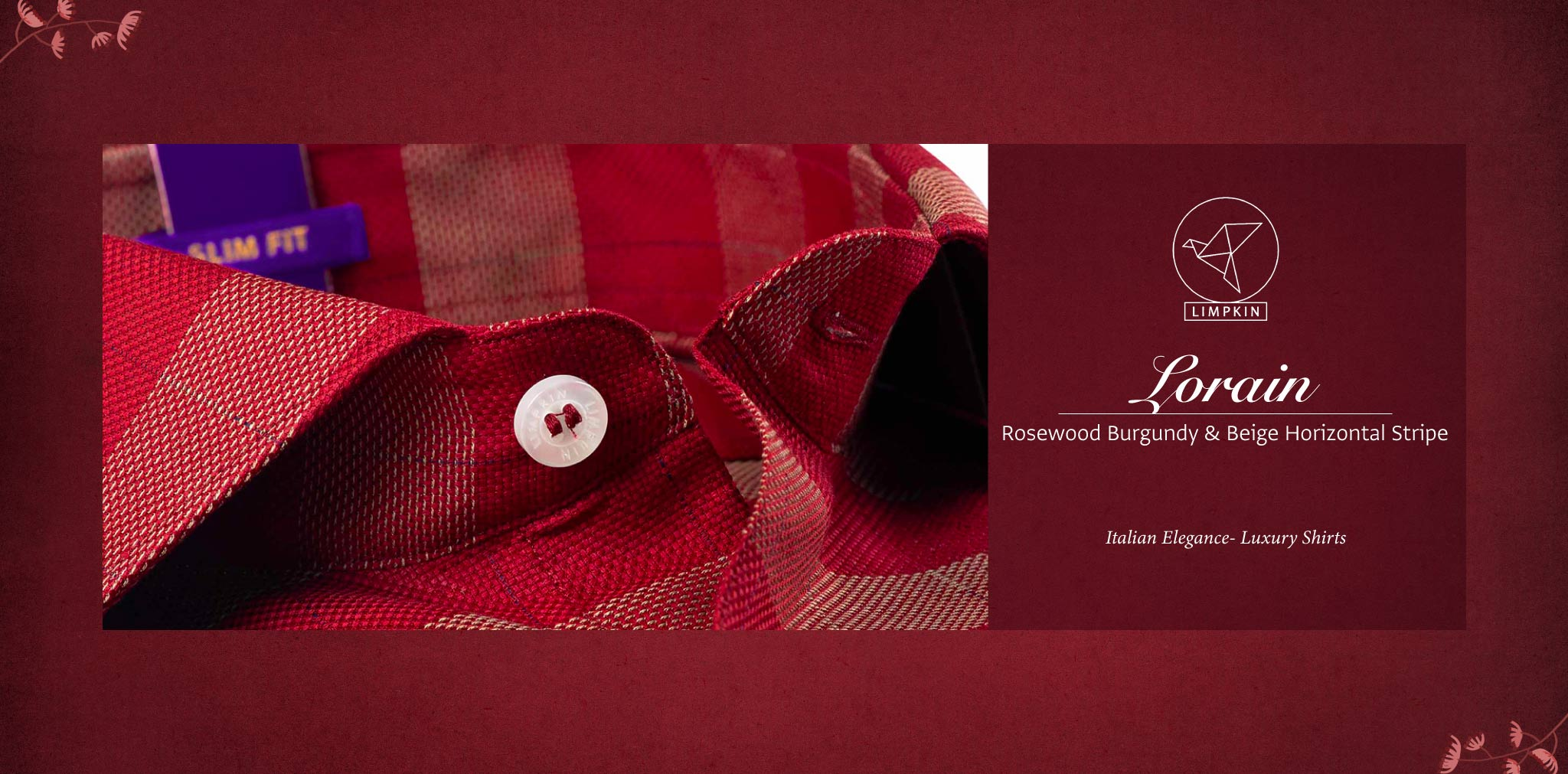 Lorain- Rosewood Burgundy & Beige Horizontal Stripe- 2 Ply Pure Egyptian Giza Cotton- Delivery from 19th April - Banner