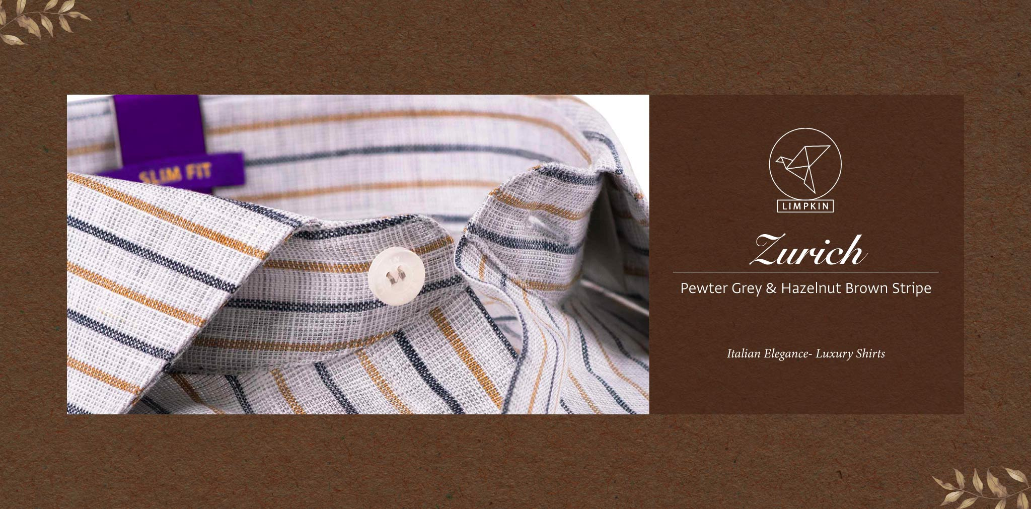 Zurich- Pewter Grey & Hazelnut Brown Stripe- 66's Lea Pure Luxury Linen- Delivery from 26th Sept - Banner