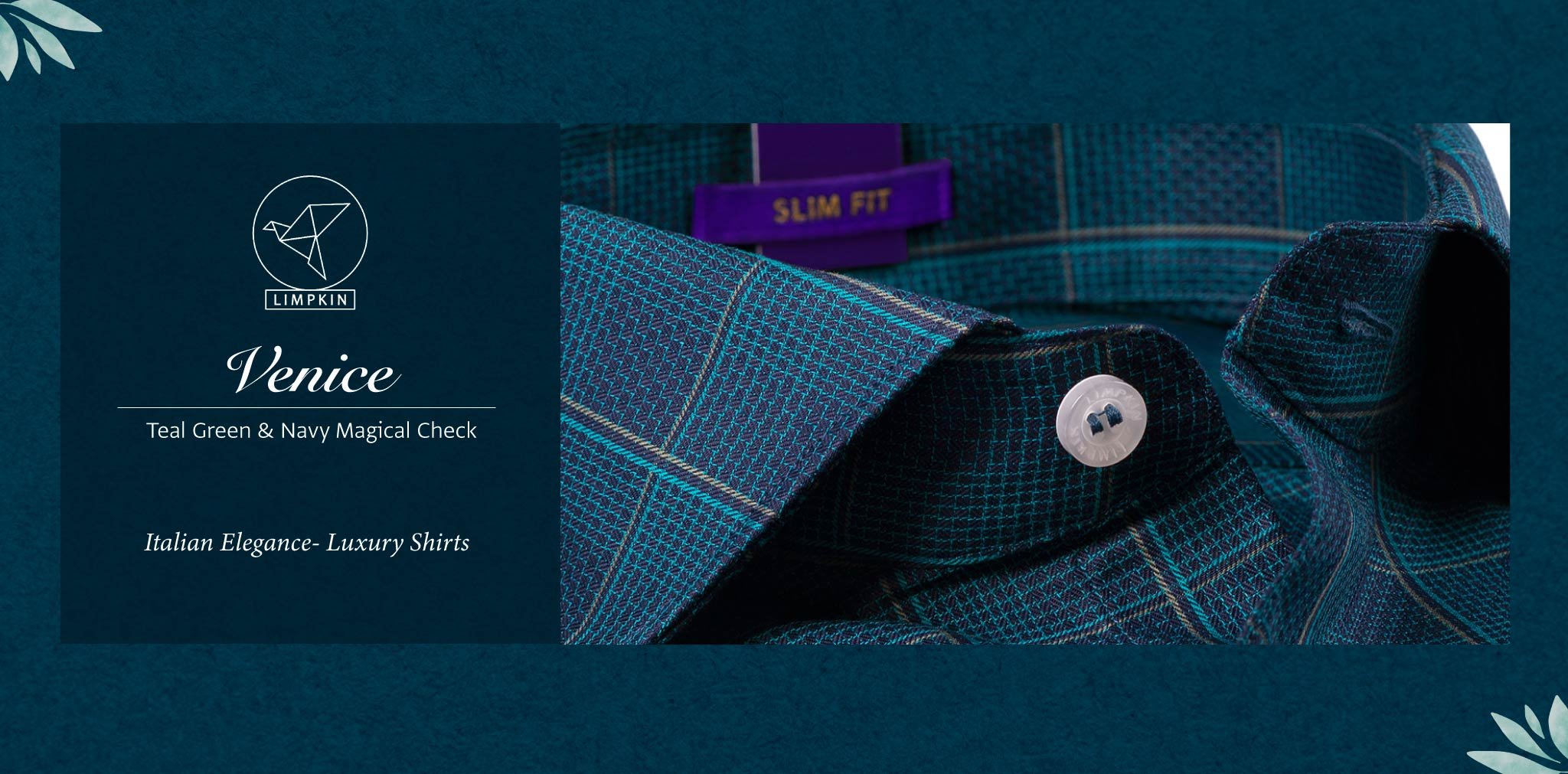 Venice- Teal Green & Navy Magical Check- 2 Ply Pure Egyptian Giza Cotton- Delivery from 20th Oct - Banner