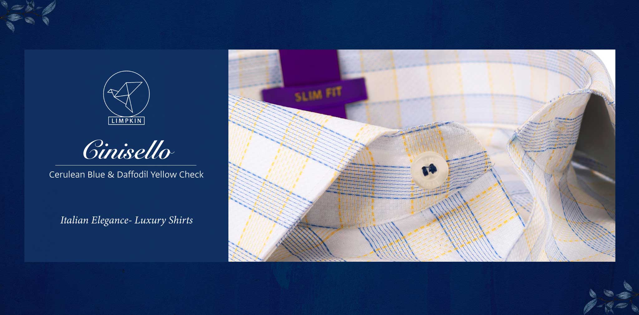 Cinisello- Cerulean Blue & Daffodil Yellow Check- 2 Ply Pure Egyptian Giza Cotton- Delivery from 17th May - Banner