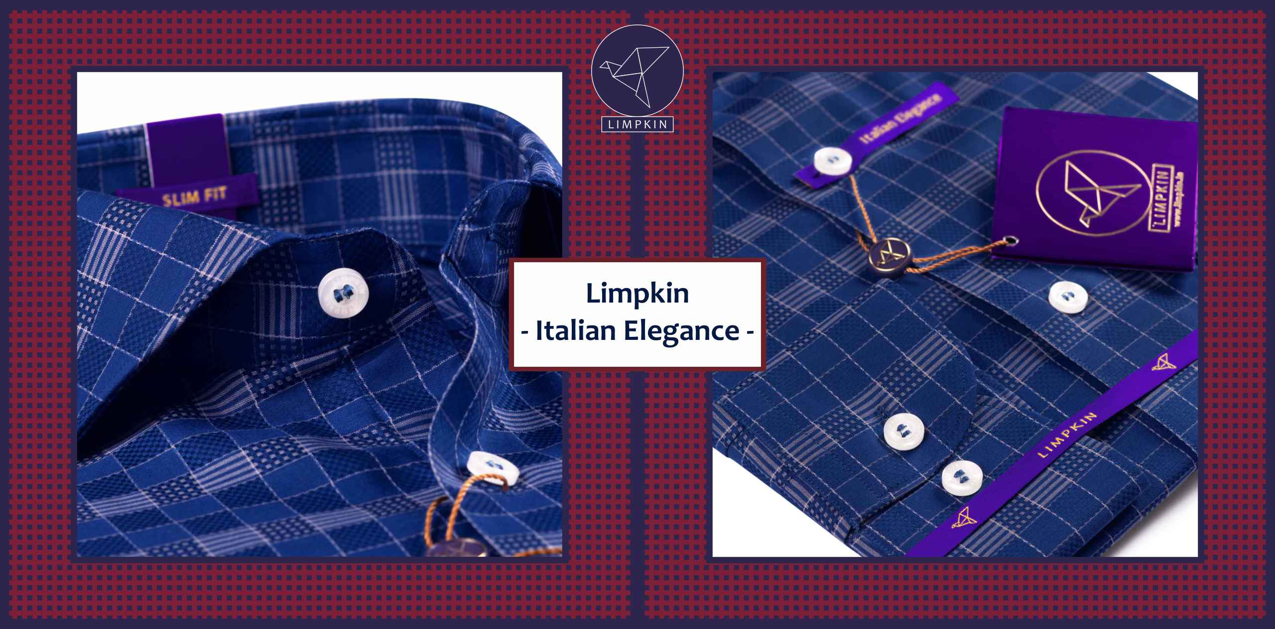 Legnano- Dark Navy & Beige Magical Check- 2 Ply Pure Egyptian Giza Cotton- Delivery from 27th Nov - Banner