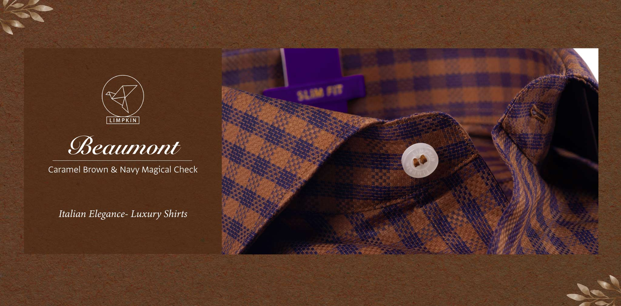 Beaumont- Caramel Brown & Navy Magical Check- 2 Ply Pure Egyptian Giza Cotton- Delivery from 17th May - Banner