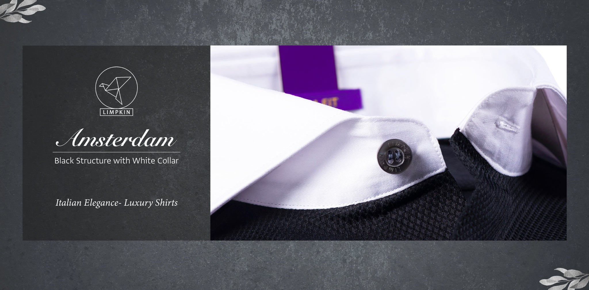 Amsterdam- Black Structure with White Collar- 2 Ply Pure Egyptian Giza Cotton- Delivery from 17th May - Banner