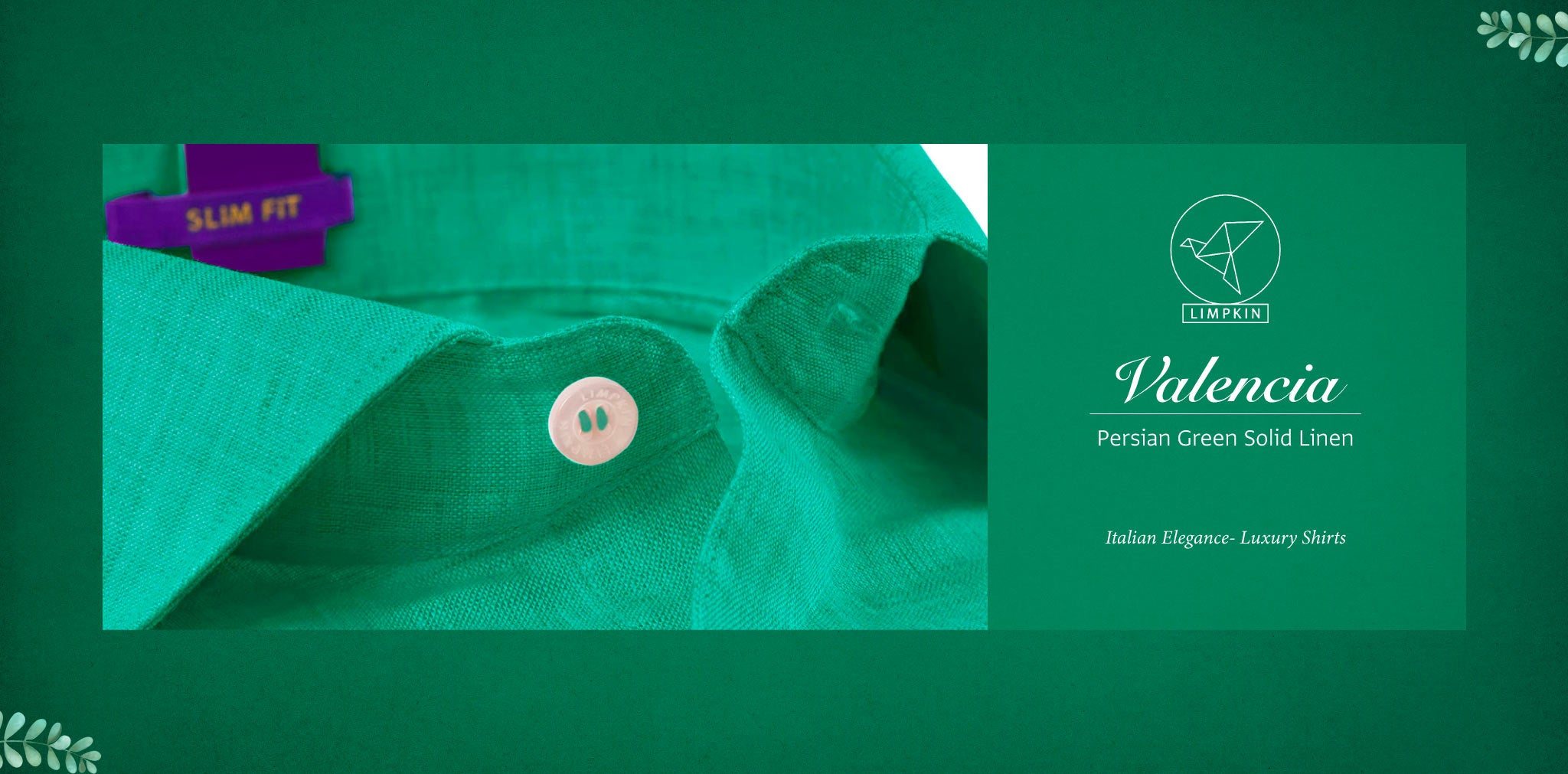 Valencia- Persian Green Solid Linen- 66's Lea Pure Italian Linen- Delivery from 26th Sept - Banner