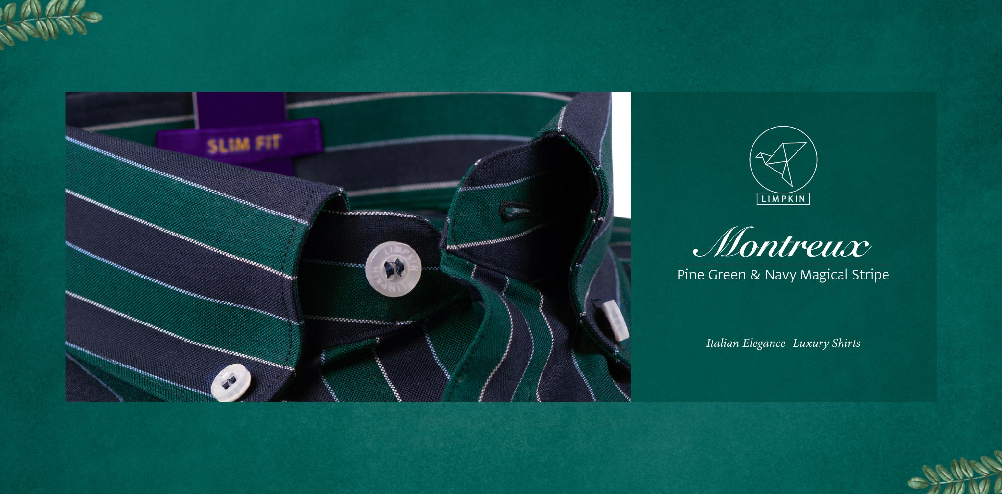Montreux- Pine Green & Navy Magical Stripe- Pure Egyptian Giza Cotton- Delivery from 11th March - Banner